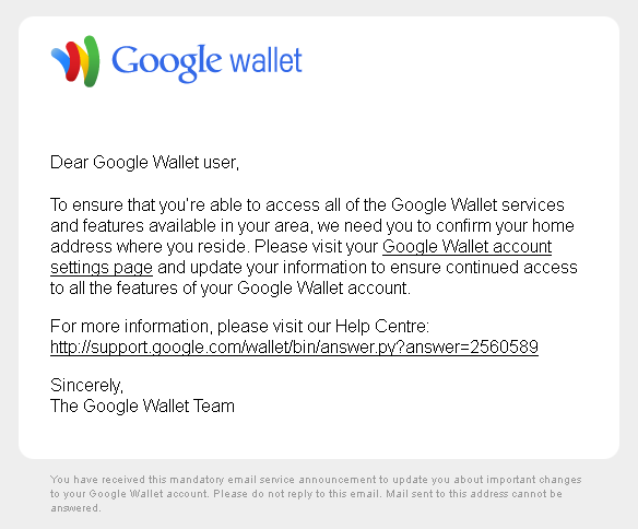 Google Wallet Email Looks Like A Phishing Attempt Alex Poole