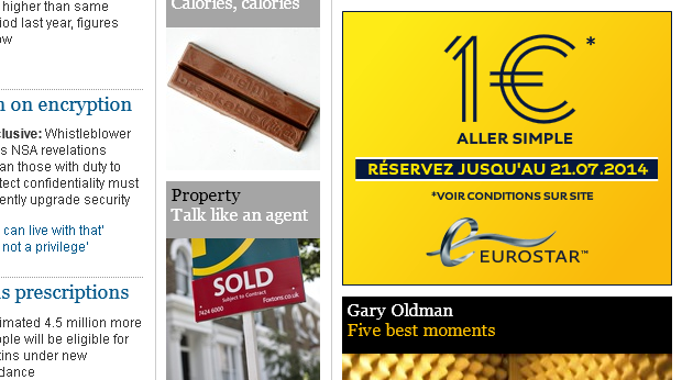 Eurostar advert - €1 for a single journey