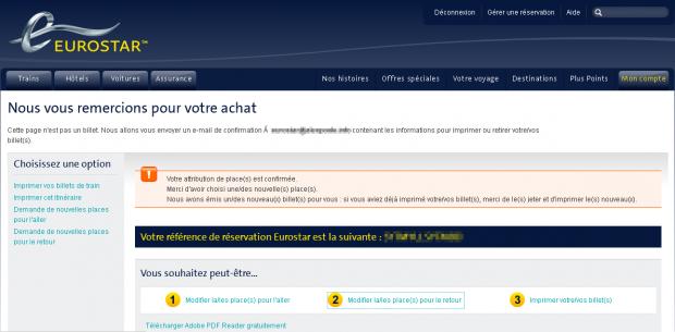 Lazy Eurostar confirmation message